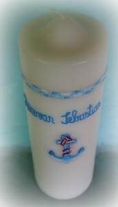 Lumanare botez 50 cm realizata manual si personalizata-Lumanaresele.ro