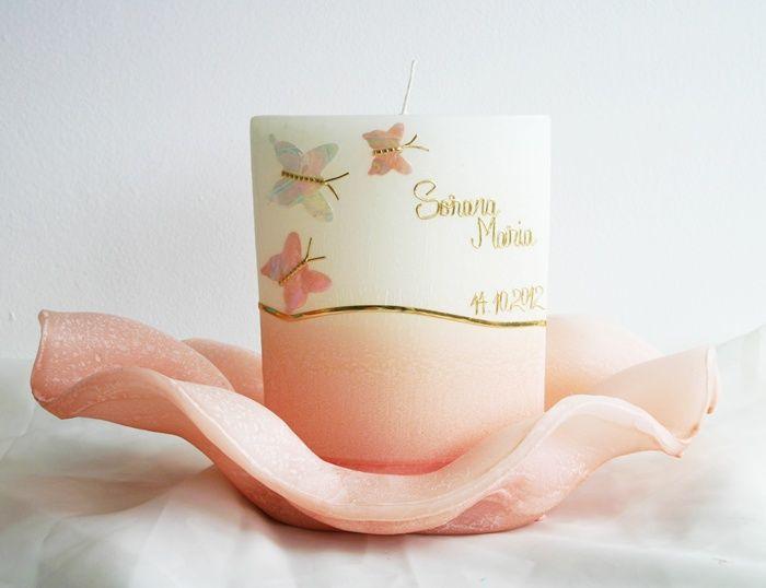 Aranjament cu lumanare roz pentru botez fetita | Lumanaresele.ro