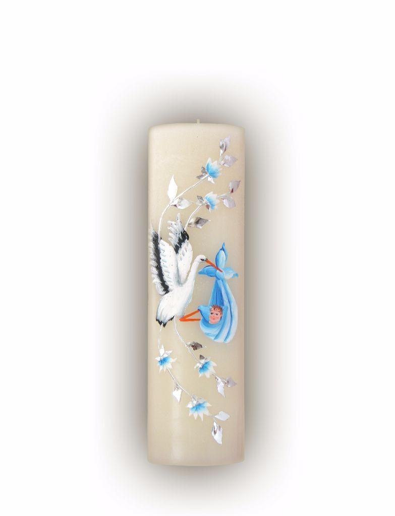 lumanare botez scurta pictata cu barza | Lumanaresele.ro