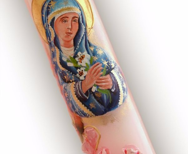 lumanare de botez cu Sfanta Maria | Lumanaresele.ro