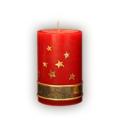 Lumanare 12 cm cilindru  stele regale rosu